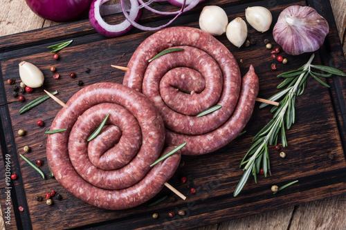 Obraz na plátně raw pork sausage