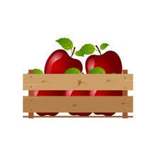 Box With Apples, Wooden, Fruit...