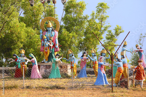Huge statue of Lord Shri Krishna and Radha with Gopis performing raas leela, Nil Poster