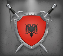 Flag Of Albania. The Shield Wi...