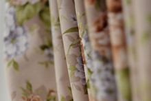 Silk Striped Drape In Rust, Cream And Flowers. Close Up Detail Of The Fabric Texture And Colors Of This Luxurious Window Treatment.