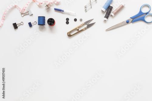 Fotografia  Flat lay aerial image of fashion designer items background concept