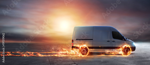 Fotografie, Tablou Super fast delivery of package service with van with wheels on fire