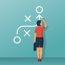 Businesswoman Standing Whiteboard Showing Scheme. Business Presentation Planning Strategy. Business Tactic. Pointing And Explains Chart. Vector Illustration Of Flat Design Style. Plan To Achieve Goal.