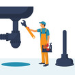 Professional plumber with an adjustable wrench hold in hand repairing plumbing, isolated. Plumbing service, repair fix leaking. Vector illustration flat design.Fixing pipe. Washbasin, plunger.