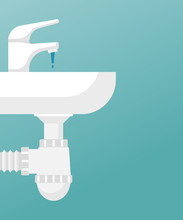 White Wash Basin With A Tap In The Bathroom. San Knot Isolated On Background. Vector Illustration Flat Design. Sanitary Equipment. Water From Tap. Siphon Under The Sink.