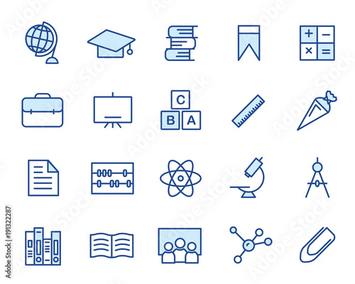 Education Vector Icon Set Wallpaper Mural