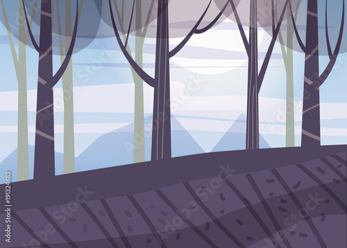 Landscape minimalistic, spring, sea, trees, sun, flat, isolated, vector, illustration
