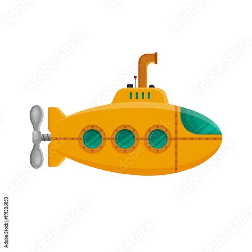 Láminas  Yellow submarine with periscope isolated on white background