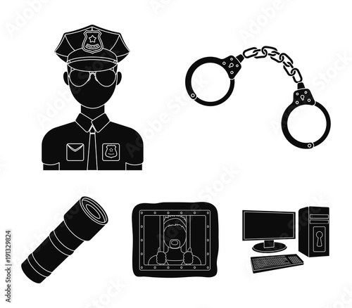 Handcuffs, policeman, prisoner, flashlight Wallpaper Mural