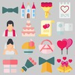 Icons set about Wedding. with gift, wedding cake and love letter