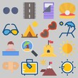 Icon set about Beach And Camping with keywords sleeping bag, mountains, sunglasses, rope, tour and sunbed