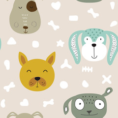 Fototapeta Do pokoju dziecka Seamless vector childish pattern with dog animal faces as backround or texture