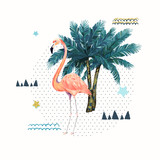 Abstract geometric poster with flamingo. Summer tropical design. Hand drawn vector illustration - 191331823
