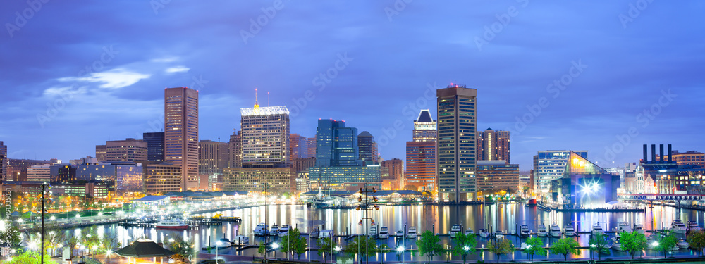 Fototapety, obrazy: Downtown city skyline and Inner Harbor, Baltimore, Maryland, USA