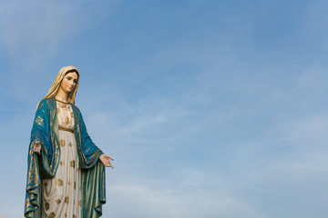 The Blessed Virgin Mary in front of the Roman Catholic Diocese, public place in Chanthaburi, Thailand.