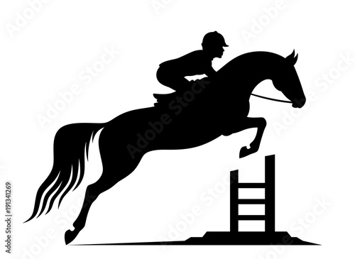 Fotomural Jumping horse on a white background