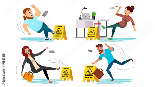 Obraz Caution Wet Floor Sign Vector. People Slips On Wet Floor. Situation In Office. Danger Sign. Clean Wet Floor. Isolated Flat Cartoon Character Illustration - fototapety do salonu