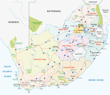 South Africa Road, Administrative And Political Vector Map