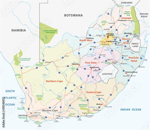 Obraz na plátně south africa road, administrative and political vector map