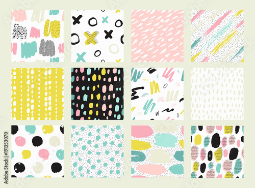 Deurstickers Kunstmatig Collections of colorful seamless pattern.
