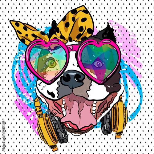 Foto op Plexiglas Art Studio Cartoon dog print. Fun poster. Sketch vector comic portrait. Cool girl.