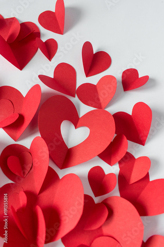 Group Of Hand Cut Red Paper Craft Hearts On White Background Buy