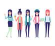Hipster girls vector illustration.