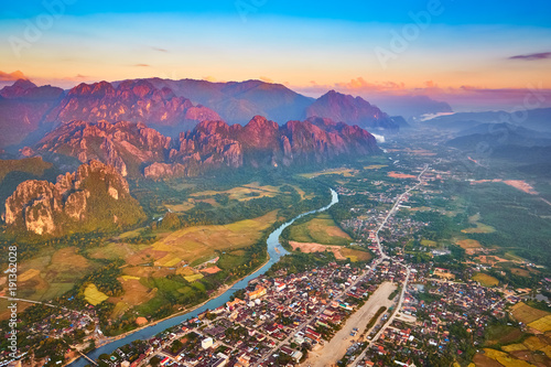 Vue aerienne Aerial view of the fields, river and mountain. Beautiful landscape. Laos.