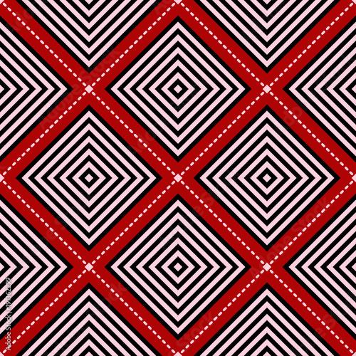 czerwony-bezszwowy-tlo-z-czarny-i-bialy-geometrycznym-wzorem