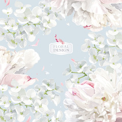 Panel Szklany Peonie Peonies and Apple blossom floral vector background