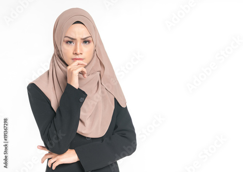 Fotografía  Hijab businesswoman with expression face.