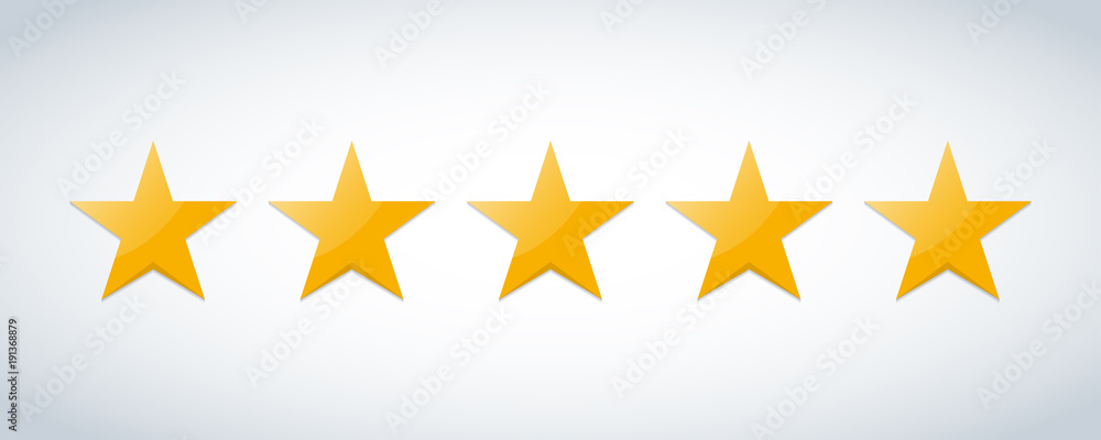 Fototapeta Five stars customer product rating review flat icon for apps and websites