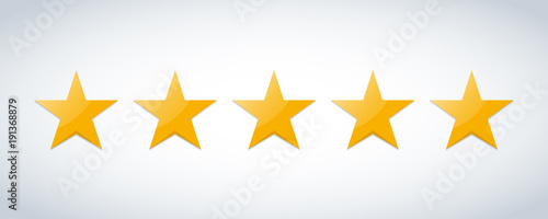 Fotomural Five stars customer product rating review flat icon for apps and websites