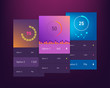 Dashboard UI and UX Kit. Bar chart and line graph designs. Different infographic elements. Dark background