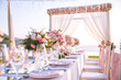 canvas print picture - Table setting at a luxury wedding and Beautiful flowers on the table.