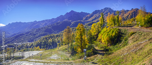 Fototapety, obrazy: Autumn panorama of a mountain landscape, near the city of Sochi