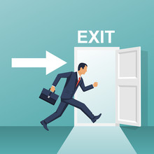 Businessman Runs Into Open Door. Symbol Exit. Human Is Running From Work. Evacuation Sing. Vector Illustration Flat Design. Isolated On White Background. Emergency Exit.