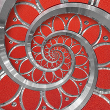 Red Abstract Round Spiral Back...