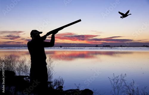 Fotografía cazador en el paisaje