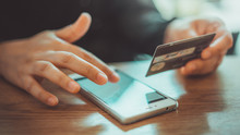 Mobile Phone Shopping Online With A Debit Card