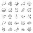 Food And Vegetables Doodles Set