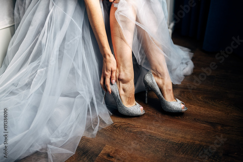 Grey Wedding Shoes | Bride Puts On Her Silver Wedding Shoes Grey Wedding Dress On