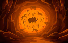 Cave With Cave Drawings. Carto...