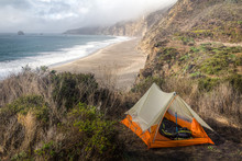 Nice Orange Tent Pitched On Cl...