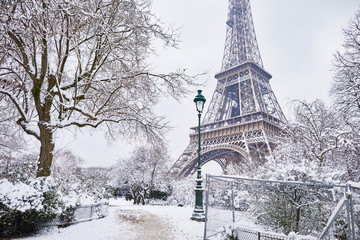 Fototapeta Scenic view to the Eiffel tower on a day with heavy snow