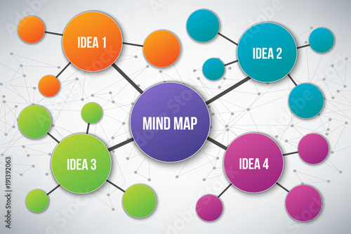 Obraz Creative vector illustration of mind map infographic template isolated on transparent background with place for your content. Art design. Abstract concept graphic element - fototapety do salonu