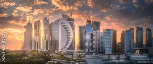 Skyline of West Bay and Doha City Center, Qatar Canvas Print
