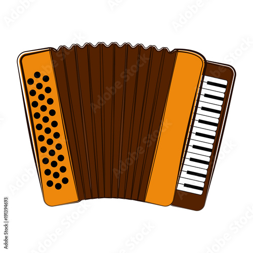 Photo Isolated accordion sketch. Musical instrument