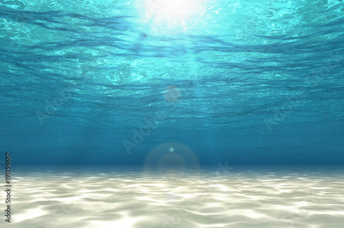 Fotografie, Obraz  Abstract under sea background, white sand with sun ray for your design